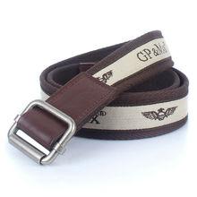 italia diseño pesado lienzo cinturón con plata cinta jacquar aleación hebilla