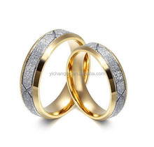Gold Sand Polished,Love Fashion CZ Diamonds Stone Pave Stainless Steel Lovers Band Couples Wedding Promise Ring