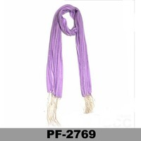Cheap lady's pink infinity voile scarf with beads and long tassels wholesale