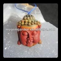 Carved Multi-Color Picasso Jasper Buddha Head Pendant