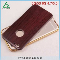 Metal Bumper Wood Cover Back Case For iPhone 5/ 6/ 6 Plus New Style Wooden Case For iPhone 6