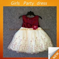 Embroidery flower tulle baby dress boutique stylish children dresses good quality CDT-128