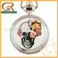 Halloween gift skull silver quartz pocket watch with mirror