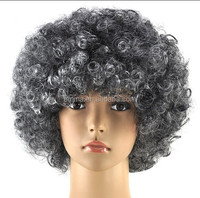 cheap new grey football fans wig/ color wig/ afro wig W5016