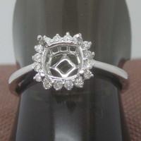 7x7mm Cushion Cut 14kt Gold Halo Diamond Semi Mount Ring Setting Fine Jewelry