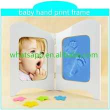 Customed del pie del bebé impresiones de la mano de resina marco huellas del bebé marcos