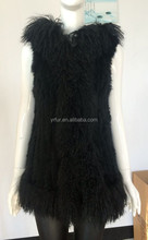 YR944 Fashion Real Mongolian lamb and knitted rabbit fur vest