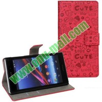 Fashionable Design Magic Girl Leather Cover Case for Sony Xperia Z1 L39h with Card Slots and Holder