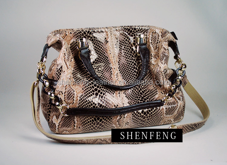 2016 New Fashion Embossed Python Skin PU Leather for Handbags
