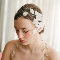New Fashion European Fascinator Flower Mesh Veil Hair Accessories For Women Wedding Bride Party Headwear7437