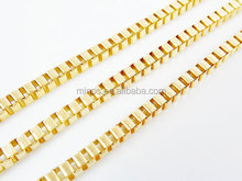 Stainless Steel Medium Size Box Chain With 22k Matte Gold Plated Cheap Chain Jewwelry