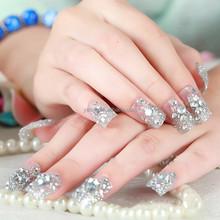 3D Nail Art 24pcs Artificial Nail with Fashion Bow/Pearl and Glitter 3D Japan Nail Art