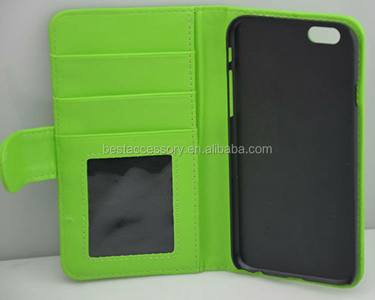 Most popular color wallet cell phone case, cheap price pu leather cell phone case for iphone 6, for apple iphone 6 cover