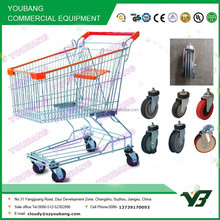 Hot sell good cheap 125 liter zinc with powder Asian type shopping trolley price with free logo/ supermarket trolley(YB-A04)