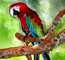 Fast Shipping High Quality Handmade Parrot Animal Oil Painting on Canvas for Decoration