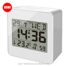 2015 ESUN Newest design desk radio controlled clock with alarm and weather station/Weather station alarm clock by radio control
