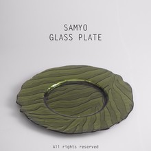 "Samyo 13"" handmade green color tree pattern glass charger plate for decoration"