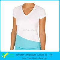 Custom bulk long line white blank women's plain t-shirts 2016