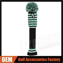2015 hot sale OEM Knitted Golf Headcover Set, Driver/Fairway Wood/Hybrid/Iron/putter Knitted Pom Pom Golf Cover Set
