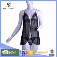 2015 Newest Polyamide Fibre Polyester Matching Thong Sex Lingerie Hot Short Dress