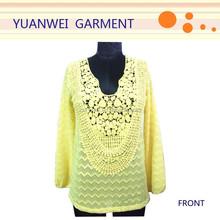 Long Sleeve Blouse Crochet Neckline Tunic Blouse Lace Work 2015 Top