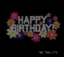 Hot Fix Happy Birthday Colorful Flower Custom Rhinestone Transfer Motifs For Apparel Wholesale
