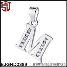 Sterling Silver Alphabet Initial Simple Letter M Pendant Necklace
