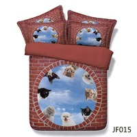 Bed linen New 3d animal design cat and love Hd print cotton bedding
