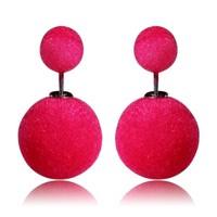 Colorful Women Double plush Earrings Cheap Vintage Statement Stud Earring,Charming Double Artificial Bead Earring Ear Stud