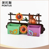 Garden decoration multi color sunflowers metal wall flower pot holder