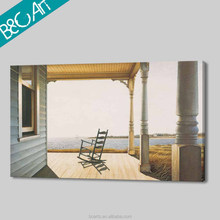 Nostalgic wood house and rocking chair Late Autumm Day seascape painting