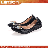 popular shiny fancy ballet foldable flat shoes for women 2015
