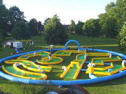 crazy inflatbale mini golf in 2 parts, mega inflatable golf field