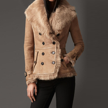 Top Fashion Top Quality Camel Color Ladies Short Style Sheepskin Double face fur and leather Overcoat Wholesale
