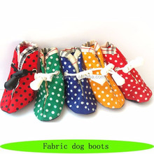 2015 new fabric dog boots, indoor pet cat boots, dot fancy dog boots