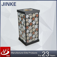 New Design Advertising Square Metal Garbage Can, Commercial Rubbish Bin With Big Ashtray