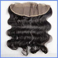 Top quality lace frontal hair pieces natural black color body wave lace frontal