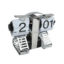 Haweel Robot Shaped Metal Digital Auto Flip Page Clock Desktop Decorative Clock - Internal Gear Operated (Size: 200x155x92mm)
