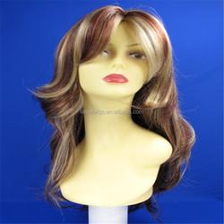 brown&blonde color wavy hair wig, heat resistant fiber long wig
