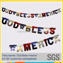 2015 fashion style promotional best quality god bless america letter banner