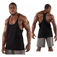 Plain y back bodybuilding 100% cotton tank top stringer tank top for gym men