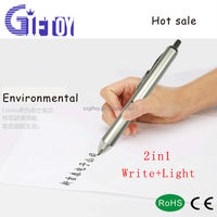 Light up White lighting LED ballpoint pen