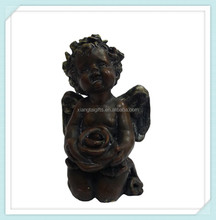 Collectible beautiful handmade resin dolls angel with flowers