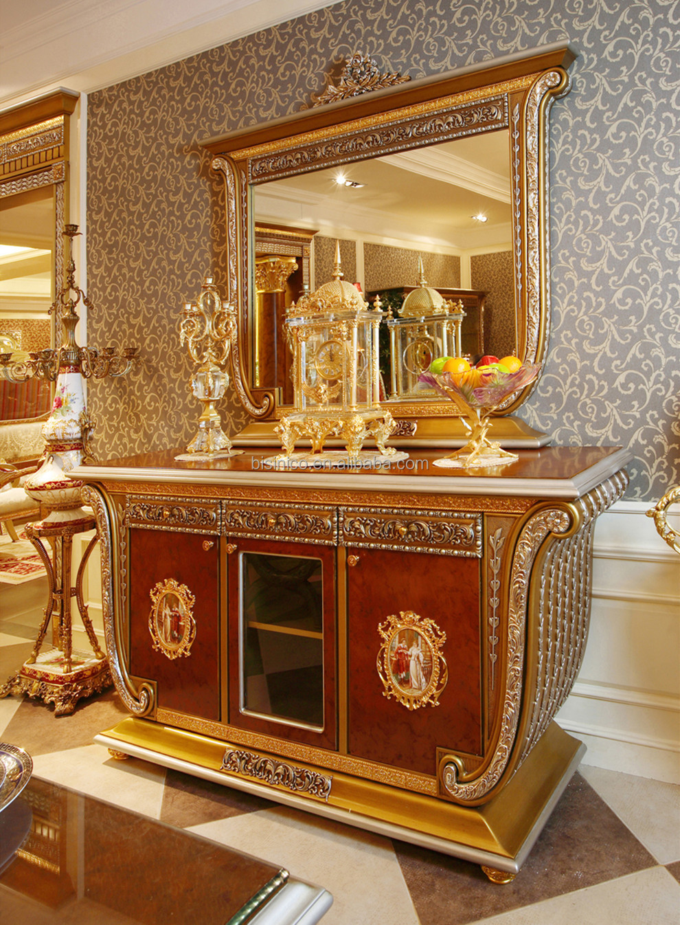 Luxury French Baroque Style Gold Leaf Sideboard With