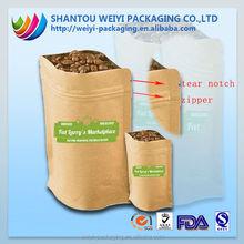 stand up green coffee tea bags/ kraft paper green coffee tea bags