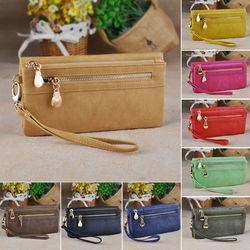 New Vintage Design Women's Leather Card Coin Holder Long Clutch Zipper Purse Wallet Gift Handbag 9 Colors 19122