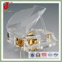 Personalized engraving crystal craft piano crystal music box for wedding in 2015