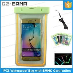 IPX8 20 Meters Luminous Waterproof Mobile Phone Bag Beach Case for Samsung Galaxy S6 edge