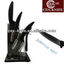 Coating damascus wave blade ceramic knives