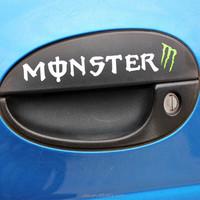 Auto decoration Monster Letter 3D PVC adhesive car doorknob decal / sticker